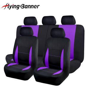 Car Seat Covers Universal Set Split 40/60 60/40 Purple Black Airbag Compatible