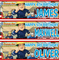 2 personalized birthday banner Fireman Sam Children Kids Party banner decoration