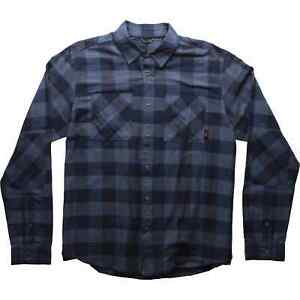 Fox Bicycle Cycle Bike Everyday Long Sleeve Flannel Shirt Navy Blue