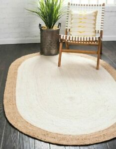 Rug 100% Natural Jute Vintage Area Rug White Hall Way Braided Style Rug Carpet
