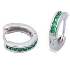 Emerald Huggie Hoop Channel Set Earrings in Solid Sterling Silver MAY BIRTHSTONE