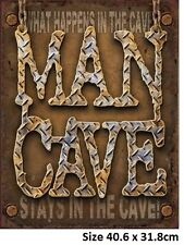 Man Cave Diamond Plate Rustic Metal Tin Sign 1701 40.6 x 31.8cm