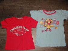 Lot 2 t-shirts 1 rose fuchsia imprimé et brodé 2 ans, 1 turquoise 3 ans