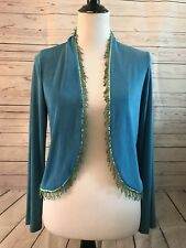 CITIKNITS Turquoise Open Front Acetate NWT size XS beading