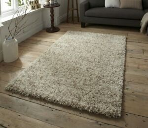 Super Soft Plain Shaggy Area Rugs Non Shed Large Rug Carpet Mat 5cm Thick Beige