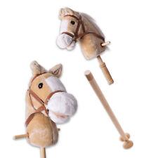 Steckenpferd mit Sound Hobby Horse 96cm Stockpferd 2-teilig Stiel Rollen beige