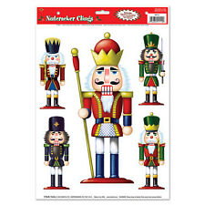 5 NUTCRACKER window clings Christmas glass decoration holiday party REUSABLE