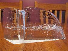 Gorgeous Glasslight Studio Art Glass Textured Ice Block Signed Candle Holder