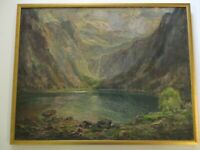 PAINTING MAX ANTLERS IMPRESSIONISM MOUNTAIN LAKE NEW YORK CALIFORNIA OLD ANTIQUE