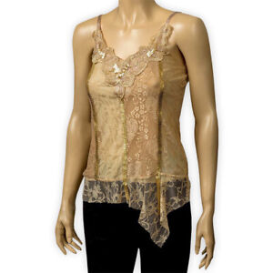 Womens Ladies Sequins Floral Cami Gold Thin Straps Party Lined Lace Vest Top