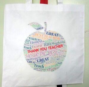 Tote Bag Thank You Teacher School Gift 2021 - Apple Design