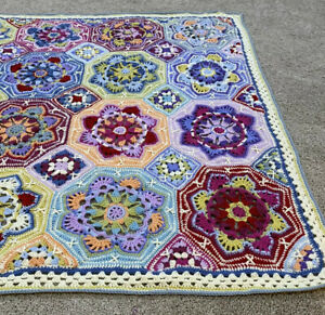 "Persian Tiles ""Eastern Jewels"" Versian Hand Crochetted Blanket Afghan Throw"