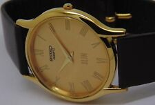 SEIKO QUARTZ SUPER SLIM MEN'S GOLD PLATED GOLDEN DIAL WATCH EXCELLENT RUN ORDER