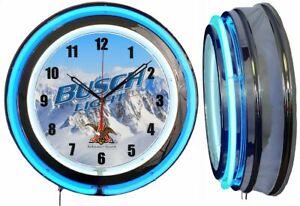 """Busch Light Beer Mountains 19"""" Double Neon Clock Blue Neon Man Cave Bar Garage"""