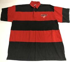 Vintage 1997 Miami Heat Big Logo Striped Polo Size XL