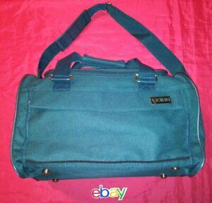 Vintage DEADSTOCK VERDI FORREST GREEN CANVAS Overnight Carry On Bag NEW !