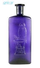 A GIGANTIC old OWL DRUG bottle FULL QUART deep PURPLE AMETHYST full 10 inch TALL