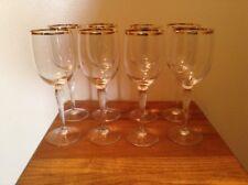 """8 signed Gorham crystal gold rim fluted stem 8"""" wine goblets glasses"""