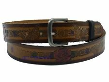 Brown Flower/Butterfly Embossed Full Grain Leather Belt Strap Hand-made in USA