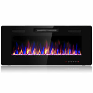 """42"""" Electric Fireplace Recessed Ultra Thin Wall Mounted Heater Multicolor Flame"""