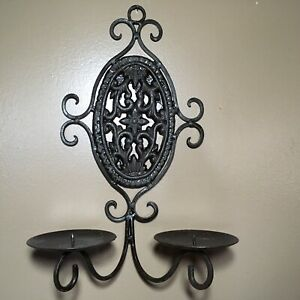 Rustic Metal Candle Holder Iron Wall Sconce Scroll Floral Pillar Decor Cottage