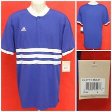 """Vintage NWT 3 Stripes 1998 Adidas Blue White Jersey DBLO Lg Shirt 22.5"""" Pit2Pit"""