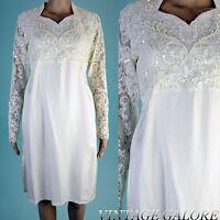 VTG 80s does 20s Ivory Sequin BEADED long sleeve flapper trophy dress Sz M L