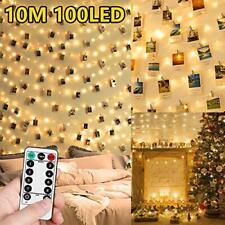 10M 100 LED Fairy Lights Bedroom LED Photo Clip String Polaroid Peg String