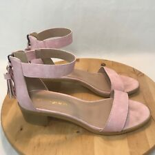 5913058087 Allegra K Women's Size 9 M Pink Nude Tassel Ankle Strap Heeled Open Toe  Sandal