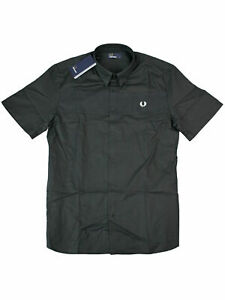 Fred Perry Kurzarmhemd Hemd M3547 102 Shirt Black Schwarz  7355