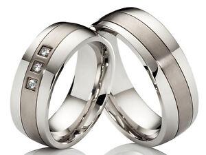 Hochzeitsringe Verlobungsringe Trauringe, Edelstahl & Titan 3 Zirkonia & Gravur