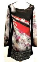 SAVE THE QUEEN - ROBE M. LONGUES NOIR & MOTIFS MULTICOLORES T L = 40 - EX. ETAT