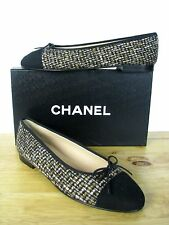 CHANEL Classic CC Tweed Suede Ballerina Ballet Flats Shoes sz 40.5 IT NIB