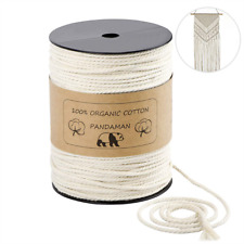 Macrame Cord,PANDAMAN 4mm x 200m About 218 yd Natural Cotton Soft Unstained Rope