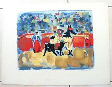 Jean Jacques MORVAN peintre expressionniste lithographie 1961 CORRIDA taureau