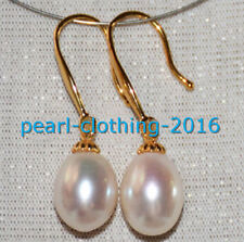 AAA 10-12mm real natural south sea white drop pearl earrings 14K Yellow Gold