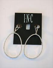 dew drop hoop earrings Inc silver tone crystal