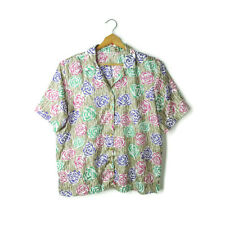 Lauren Lee woman 20W button down floral blouse top shirt Union Made plus VTG 2X