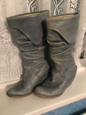 Destroy Leather Boots - Size 40 - Wedge Heel - Blue - Used