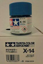 Tamiya acrylic paint X-14 Sky blue. 10ml Mini.