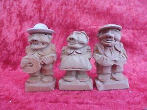 3 Belle, Petit Figurines en Bois, en Bois Sculpté, Tirol de Sud