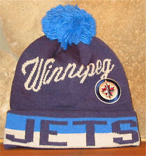 NHL HOCKEY WINNIPEG JETS Cuff Knit Winter Hat Cuffed Toque w/ POM CCM Classic