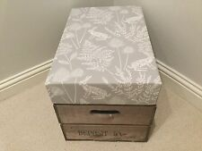 Vintage style Apple Crate bushel box storage seat In Soft Grey Hares Fabric
