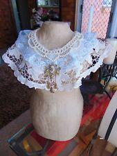 Beautiful Vintage Cutwork Lace Cameo Beaded Collar Neckpiece Bridal Boho