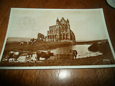 Vintage Real Photo Postcard ~Whitby Abey From East (Sepia) Franked+Stamped 1955