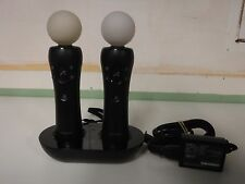 Sony PS3 PS VR Move Wand Controller Set of Two w/ Charge Dock