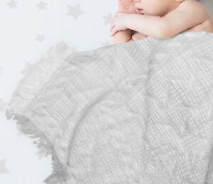 Ruffled Baby Shawl, Wrap, Blanket 120x120cm - Grey