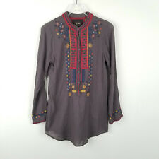 Johnny Was Biya Embroidered Floral Tunic Top Gray Button Down Shirt Size Small