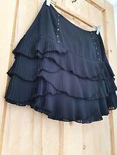 Black Chiffon Pleated Skirt 12 Ruffle Frill Layered Tier Rara Gothic Hippie Boho