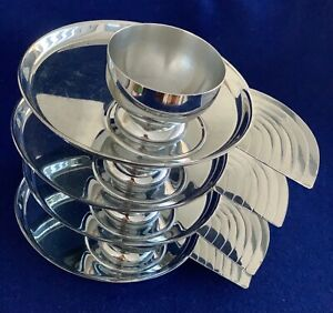 ART DECO Lurelle Guild CHASE chrome canape plates with cocktail cups, set of 4